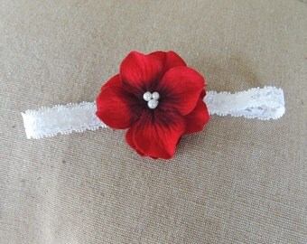 Valentines Day Baby Headbands- Red Baby Headband- Red Headband- Newborn Headband- Infant-Toddler- Wedding-Adult-Photo Prop