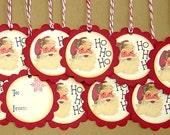 Santa Ho Ho Ho Vintage Look Christmas Gift Tags