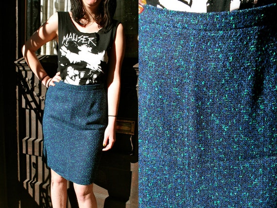 1980s Blue Green Tweed Pencil Skirt Size 6 / Size 8