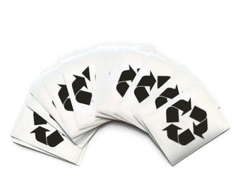 Recycle decal - black logo printed on clear vinyl