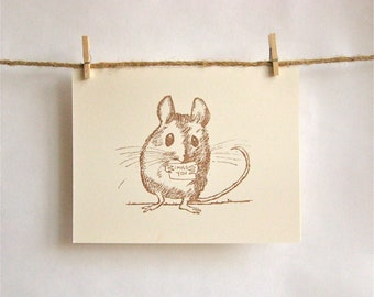 Tiny Field Mouse Sends His Love -- Sepia Brown on Cream Card -- I Miss You Card