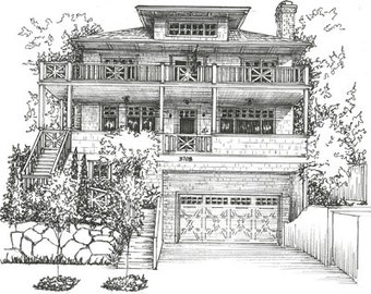 Custom House Portrait - Drawing of  house in ink, black and white architectural sketch - commissioned home drawing from photo  - custom art