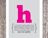 Modern alphabet initial print for nursery by alice & lois design studios