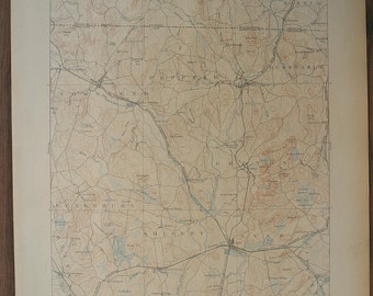 Rare MA, Groton & NH w/ More Surrounding Areas Antique Fine 1893 US Geological Survey Topographic Map