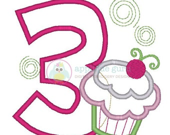 Cupcake Party Three -- Birthday Applique Machine Embroidery Design