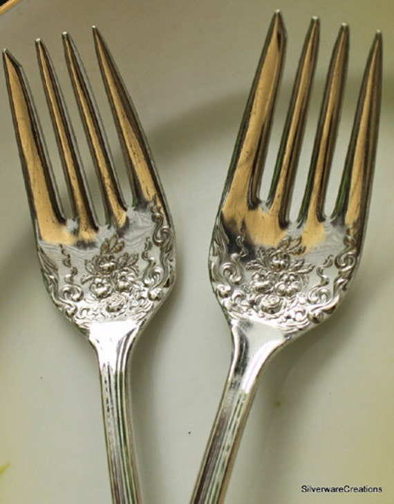 HIS & HERS Wedding Forks Cake Table Setting VINTAGE Hand Stamped Engagement Anniversary Gift Alpha 1915