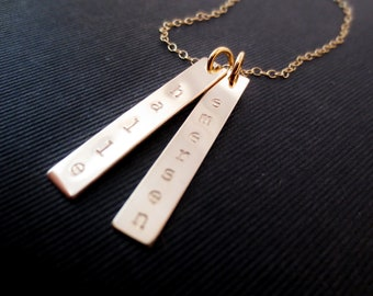 Personalized Gold Bars Necklace, Mom Sister Aunt Grandma Christmas, Kids Names, Vertical Bars Handstamped Gold Minimalist, Bridesmaid