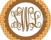 Fall monogram hourglass design girlie - personalized - digital image  - Fall - Autumn