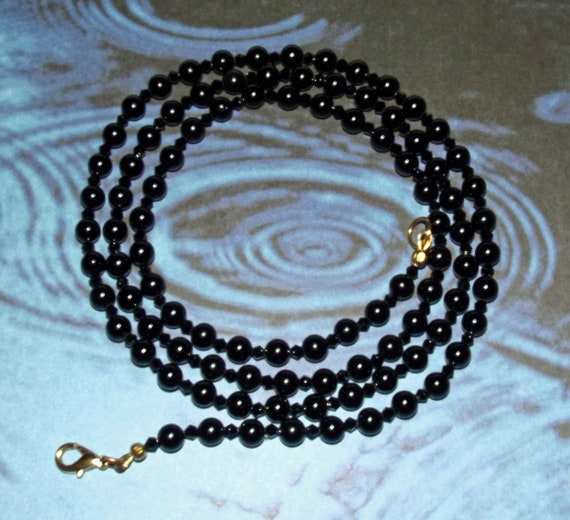 "Onyx and Black Crystal Necklace 36"" Handbeaded"