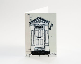 Greeting card with illustration of rustic white portal / classic door