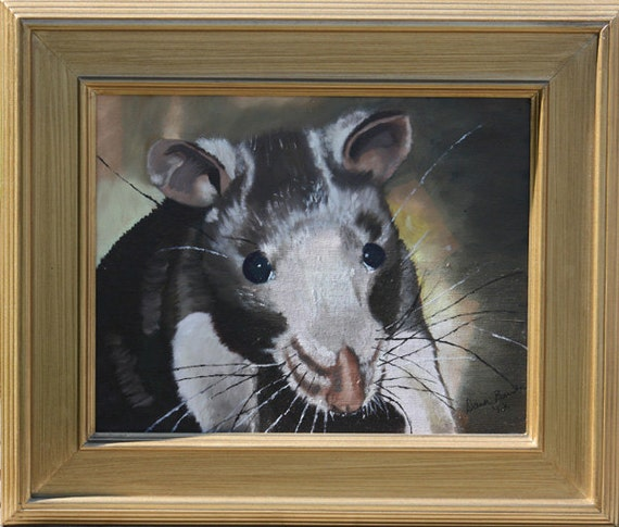 Framed oil Painting of Pearl, a domestic rat OOAK