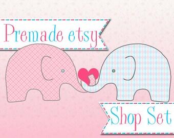 Premade Etsy Shop Image Set - Design 39 Elephant Love