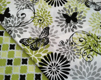 Insulated Casserole Carrier - Butterflies with Green White and Black, Personalization Available