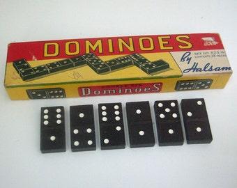 Vintage Dominoes Set in Original Halsam Box Sears Tower