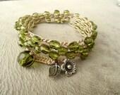 Crochet Wrap Bracelet, Boho Beaded,  bohemian glass crochet beaded bracelet wrap 4x Green beads.... Floral, beach bracelet