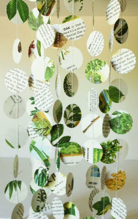 Nature themed paper garland party decorations in green and - Plant decorating ideas tasteful nature ...