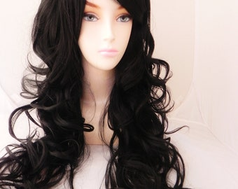 Black / Long Curly Layered Wig Mermaid Hair with Natural Scalp Piece Durable for Daily Use, Halloween Costumes, Heat Safe