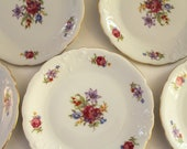 Five Bread & Butter Plates...Wawel China...Meissen Flower Pattern...Made in Poland...Cottage Chic