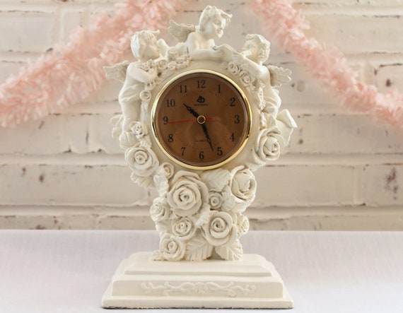 Angel Clock...Upcycled with Creamy White Paint for a Shabby Cottage Style...Working...Battery Operated