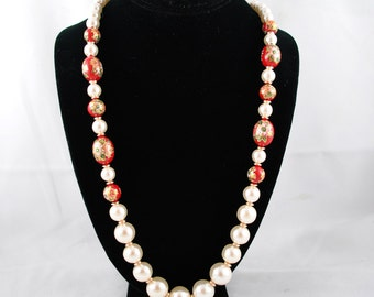 FREE SHIPPING 1960's 1960s Faux Pearl and Red Floral Cloisonne Graduated Beaded Double Strand Necklace Vintage Jewelry