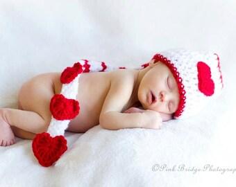Valentine Red Hearts Newborn Elf Crochet Hat