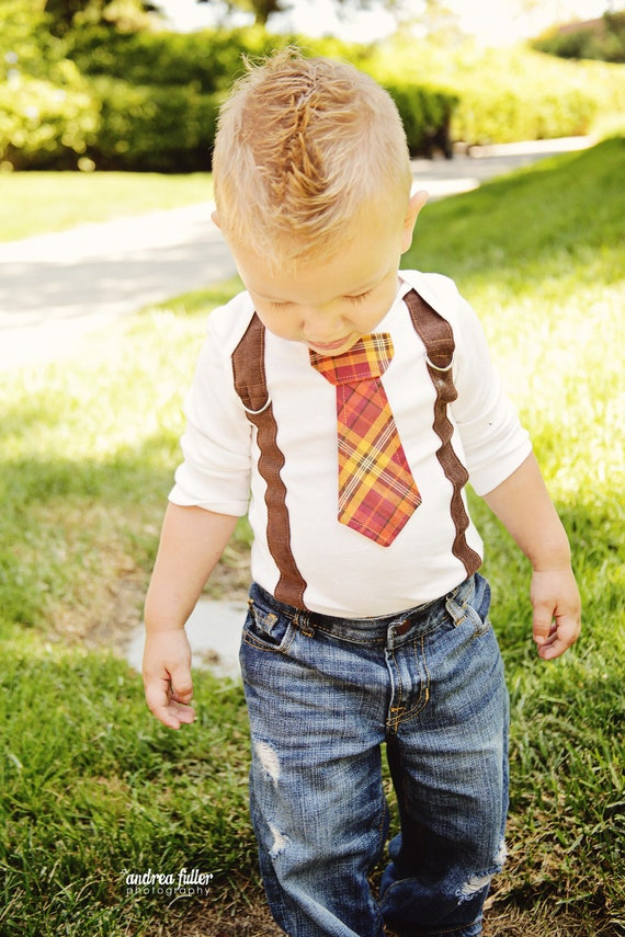 NEW Fall Thanksgiving Baby Boy tie onesie with Suspenders - Thanksgiving, Fall, Winter - Pick your own