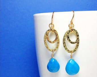 Beautiful Handmade Double Hammered Gold Hoop Earrings with Turquoise Drops.