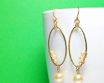 Beautiful Handmade Gold Hammered Hoop Earrings with Swarovski Pearls