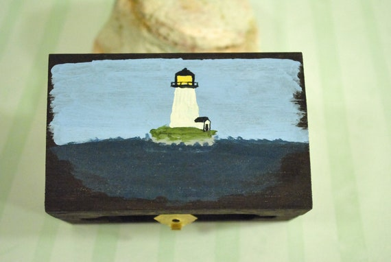 Lighthouse Ocean Decorated Trinket Box Miniature Treasure Chest