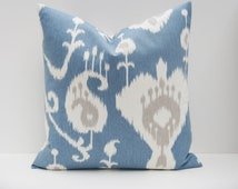 Decorative Throw Pillow Euro Pillow Euro Pillow Covers Cushion Covers Blue Pillow floor Cushion PICK SIZE Oversized Pillow Cover Ikat Pillow