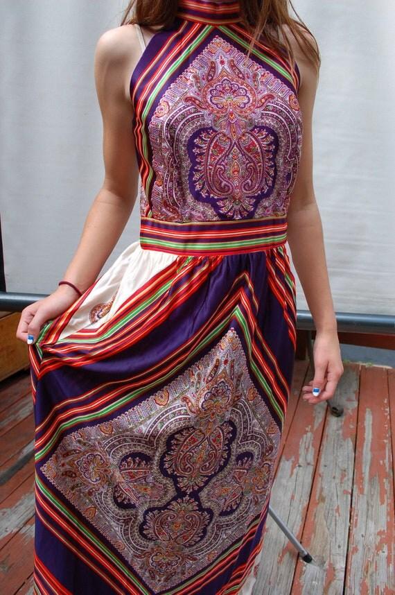 1970s Retro Silky Scarf Dress Disco Fashion Gown Halter Top Maxi Dress Back Zipper Slim Fit Waistband Size 6