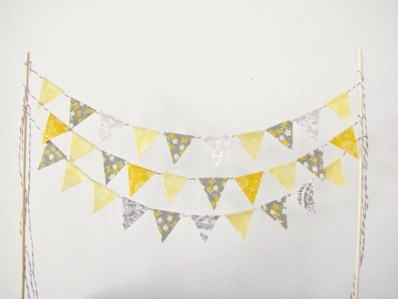 Fabric Cake Bunting Decoration - Cake Topper - Wedding, Birthday Party, Shower Decor in yellow and grey floral