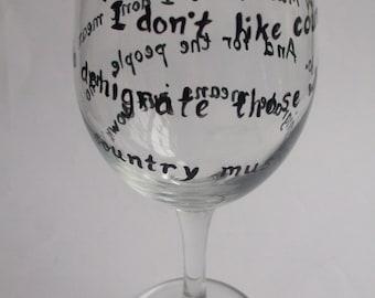 Hand-painted Musical Quote Wine Glass - Bob Newhart