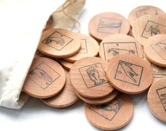 Eco Friendly Toy - ASL American Sign Language Alphabet - Montessori Game - Waldorf Wooden Toy