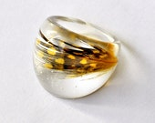 Chunky Feather Resin Ring. Resin Jewelry. Limited Edition. Yellow Black. Bubble Ring. Size 17 mm 7 USA.