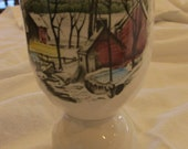 JOHNSON BROS EGGCUP Friendly Village Ice House Double Egg Cup