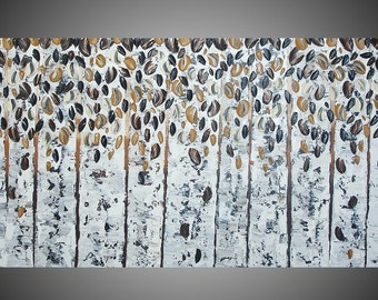Birch Trees Art Autumn Abstract Acrylic Painting on Large Canvas Forest Landscape Textured Black Brown White Art Deco 48 x 24 Made to Order