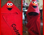Personalized Elmo/ Cookie Monster Hooded Bath Towel