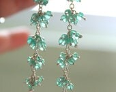 Genuine Emerald Statement Earring's - Long Silver Gemstone Cluster Earrings -  Fine Jewelry - made to order