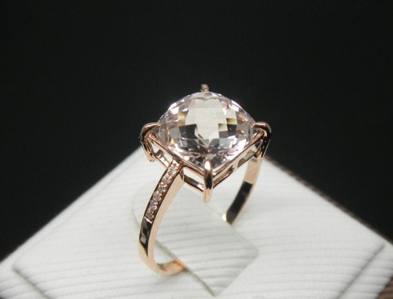 Engagement Ring 2 5 Carat Morganite Ring With by stevejewelry