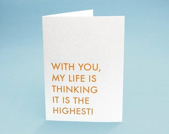 I Love You Card w/ Envelope. 5x7 letterpress style. My Life is Thinking