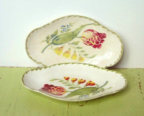 Two french vintage little dishes - K&G Luneville - Shabby chic