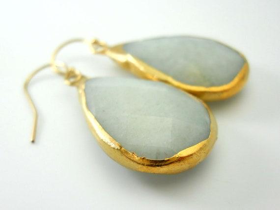 HUGE faceted gray agate briolette earrings, 18k gold dipped