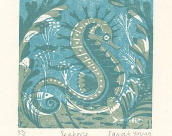 Seahorse - Woodcut Print