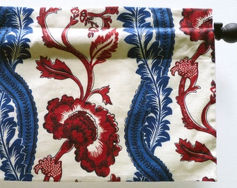 French Floral Window Valance In Classic Red Blue and Cream Print (curtain rod not included)