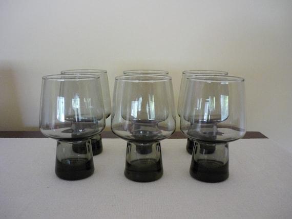 Vintage Smoked Glass Tumblers, Set of 6 Pedestal Glasses, Mid Century Modern Glassware