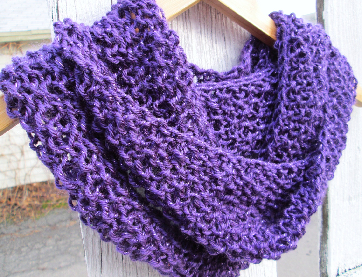 Sparkly Hand Knit Seed Stitch Cowl Made to Order