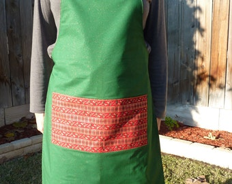 Green Glitter Fabric with Gold Flecks Reversing to Red Christmas Horns Fabric Apron