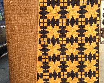 Gold and Black Bird of Paradise Quilt