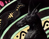 Tribal Kangaroo - Original Scratchboard and Watercolor